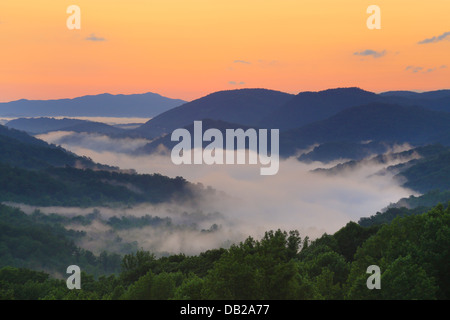 Sunrise Seen From Little River Road, Great Smoky Mountains National Park, Tennessee, USA - Stock Photo