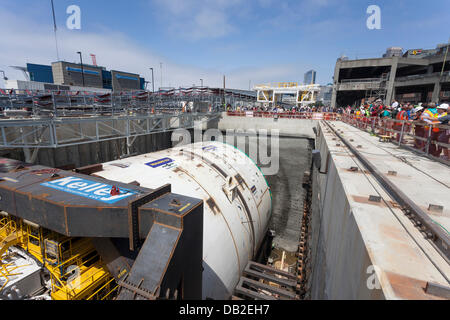 Members of the public gathered to view the tunneling machine, nicknamed Bertha, on July 20, 2013 in Seattle. The - Stock Photo