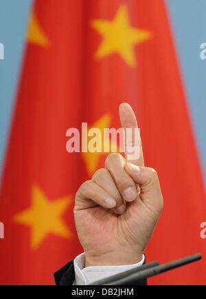 FILE - An archive picture dated 28 June 2011 shows the finger of the Chinese Premier Wen Jiabao in front of the - Stock Photo