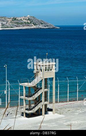 Perimeter fence in Benzu village that separates the Spanish enclave of Ceuta and Morocco. Ceuta,North Africa. Spain. - Stock Photo