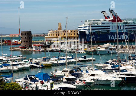 Ferry boat at Ceuta harbor. North Africa. - Stock Photo