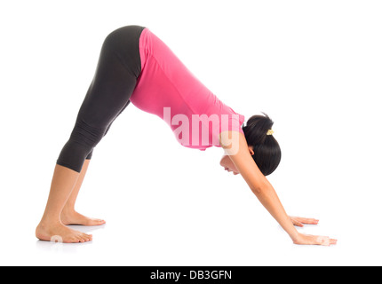 Prenatal yoga meditation. Full length healthy Asian pregnant woman doing yoga meditation at home, fullbody isolated - Stock Photo