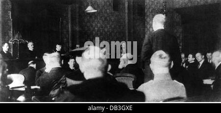 justice, lawsuits, Hitler Ludendorff Trial, People's Court, Munich, 26.2. - 1.4.1924, session in the reading room - Stock Photo