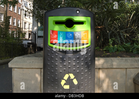 westminster council rubbish recycling bin, victoria embankment gardens, london, england - Stock Photo