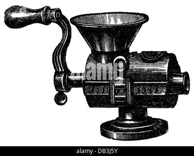 household, kitchen and kitchenware, mangler, wood engraving, 19th century, 19th century, kitchen appliance, kitchen - Stock Photo