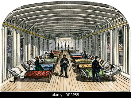 Wounded soldiers on a Union hospital steamboat on the Tennessee River, US Civil War.  Hand-colored woodcut - Stock Photo
