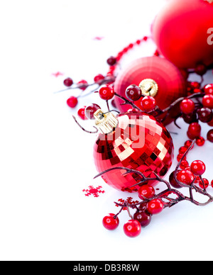 Christmas and New Year Baubles and Decorations - Stock Photo