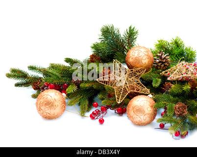 Christmas Decoration. Holiday Decorations Isolated on White - Stock Photo