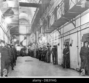 justice, lawsuits, Nuremberg Trials, trial against main war criminals, prison cells of the defendants, guards outside - Stock Photo