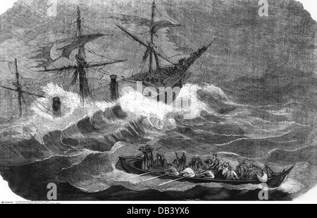 transport / transportation, navigation, disaster, demise of the steam ship 'London' in the Bay of Biscay, 1866, - Stock Photo