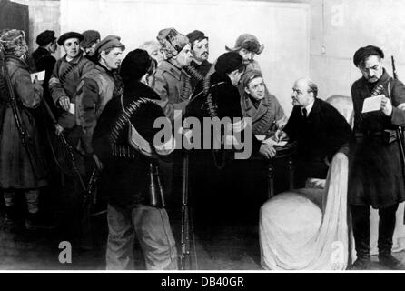 Lenin (Vladimir Ilyich Ulyanov), 22.4.1870 - 21.1.1924, Russian politician, giving out orders at the Smolny Institute - Stock Photo