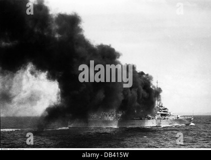transport / transportation, navigation, warship, Australian heavy cruiser HMAS Canberra shooting a volley, maneuver - Stock Photo