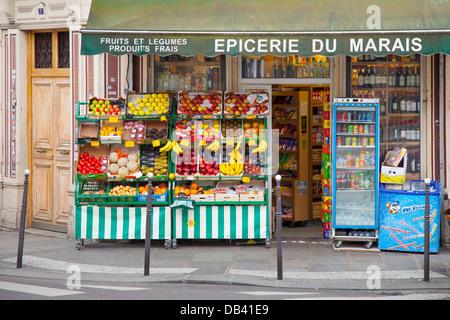 Corner Fruit and Vegetable Market in les Marais District, Paris France - Stock Photo