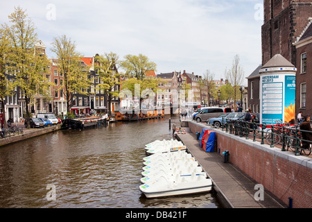 Prinsengracht canal in Amsterdam, next to the Westerkerk, Netherlands, North Holland. - Stock Photo