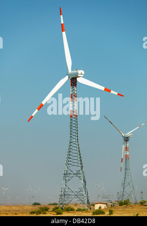 Wind power plants in the desert. India, Jaisalmer - Stock Photo