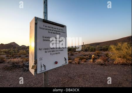 June 13, 2013 - Lukeville, Arizona, United States - An emergency beacon seen in a closed-to-the-public part of Organ - Stock Photo