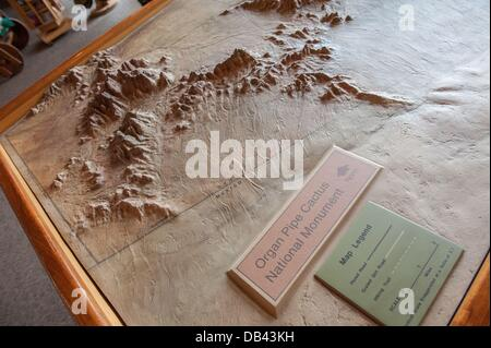 June 13, 2013 - Lukeville, Arizona, United States - A relief map of Organ Pipe National Monument is seen at the - Stock Photo