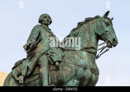 King Carlos III equestrian statue on Puerta del Sol, Madrid, Spain - Stock Photo