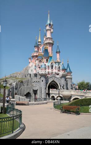 Le Château de la Belle au Bois Dormant in Disneyland Paris, Marne-la-Vallée, near Paris, France. - Stock Photo
