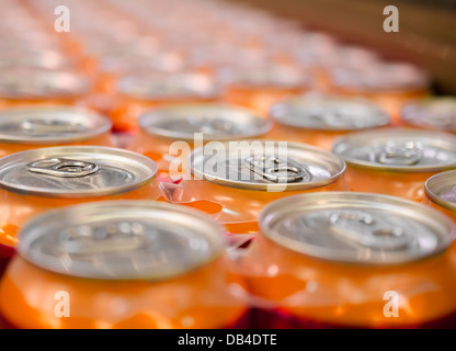 Beer tin soda pop cans - Stock Photo