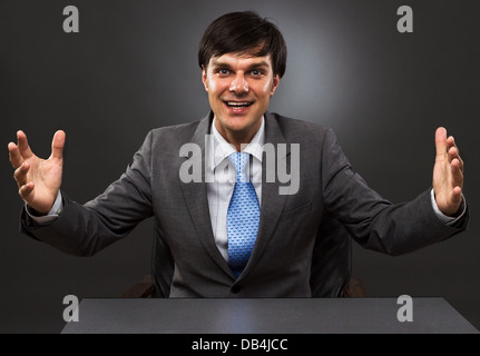 happy businessman with open arms, isolated on white, studio shot - Stock Photo