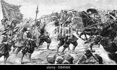 French Spanish War 1635 - 1659, Battle of Rocroi, 19.5.1643, attack of French cavalry against Spanish infantry, - Stock Photo
