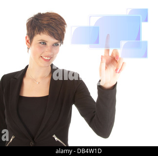 Young woman pushing virtual button isolated on white background - Stock Photo