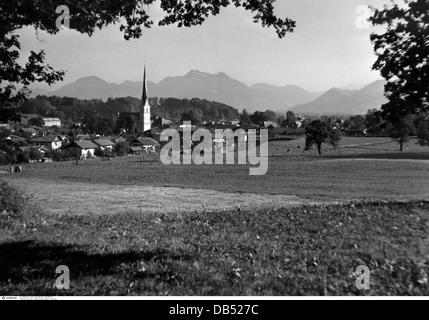geography / travel, Germany, Prien am Chiemsee, circa 1950s, 20th century, historic, historical, 1950s, 50s, village, - Stock Photo