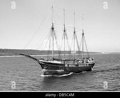 transport / transportation, navigation, sailing ships, Danish sailing ship, 1940 / 1941, Additional-Rights-Clearences - Stock Photo
