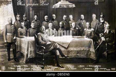 events, First World War / WWI, propaganda, Germany, German military leaders, photo composition, picture postcard, - Stock Photo