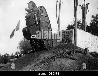 military, Italy, army, tank race in Italy, 1936, light tank FT-17 overturning after climbing over an obstacle, Additional - Stock Photo