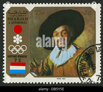 EMIRATE OF SHARJAH - CIRCA 1972 : A stamp printed in Emirate of Sharjah shows image of the Frans Hals the Elder. - Stock Photo