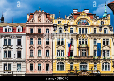 Colourful facades of buildings around the Old Town Square, Prague. The Art Nouveau Ministry of Regional Development - Stock Photo