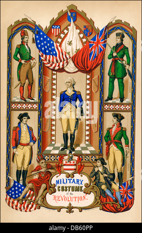 Military uniforms of armies in the American Revolution: Hessian, American rifleman, French, and British (clockwise from top left. Color lithograph