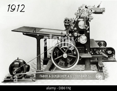 technics, typography, printing press, Roland, Faber und Schleicher AG, Offenbach, Germany, 1912, Additional-Rights - Stock Photo