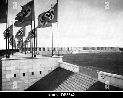 National Socialism, architecture, grandstand of Zeppelin Field, Reichsparteitagsgelaende (Nazi party rally grounds), - Stock Photo