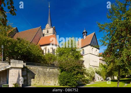 Parish Church of St. John the Baptist and St. Anna Chapel, Kronach, Upper Franconia, Bavaria, Germany - Stock Photo