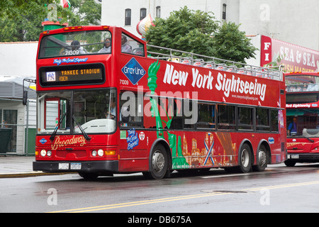 New York City Tour Bus waiting for tourists - Stock Photo