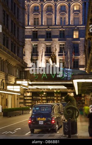 The Savoy Hotel at night,The Strand,London,England - Stock Photo