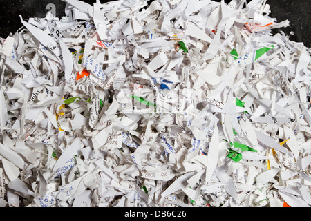 Box of shredded paper documents, destroyed to  protect from identity theft. - Stock Photo