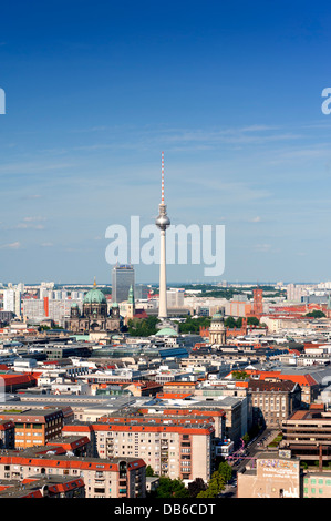 Skyline with Television Tower of Fernsehturm in Berlin Germany - Stock Photo