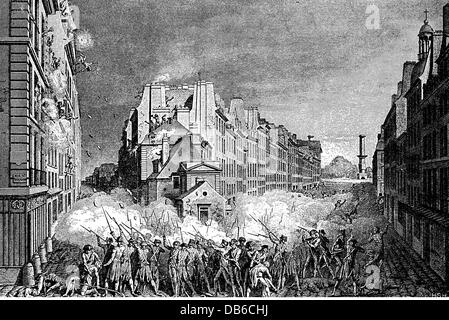 geography / travel, France, Revolution 1789 - 1799, riot in the Fabourg Saint Antoine, Paris, 28.4.1789, contemporary - Stock Photo