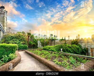Vorontsov garden in the town of Alupka, Crimea