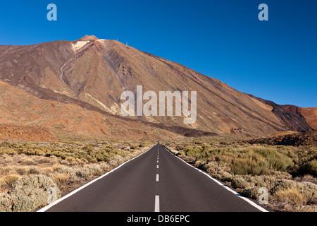 Road TF 21 to Teide Volcano, Tenerife, Canary Islands, Spain - Stock Photo