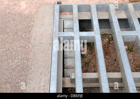 hedgehog ladder in a cattle grid escape rout for hedgehogs falling through cattle grid - Stock Photo