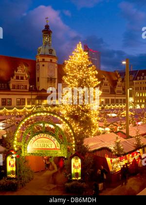 Christmas market on Marktplatz square with town hall in Leipzig, Saxony, Germany - Stock Photo
