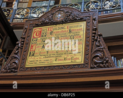 Plaque Picton reading Room Liverpool Library old - Stock Photo