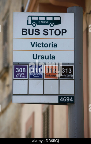 A bus stop sign in the city of Citta Victoria also known among the native Maltese as Rabat on the island of Gozo, - Stock Photo