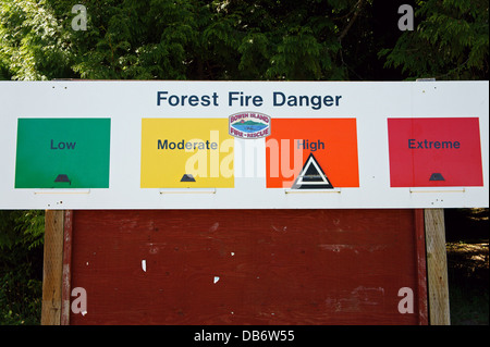 High forest fire danger sign on Bowen Island, Vancouver, BC, Canada - Stock Photo