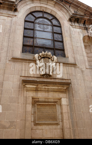 crest and stained glass window of real academia de medicina Barcelona Catalonia Spain - Stock Photo